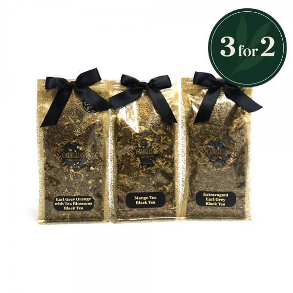 3 loose leaf tea bags of black fusion tea
