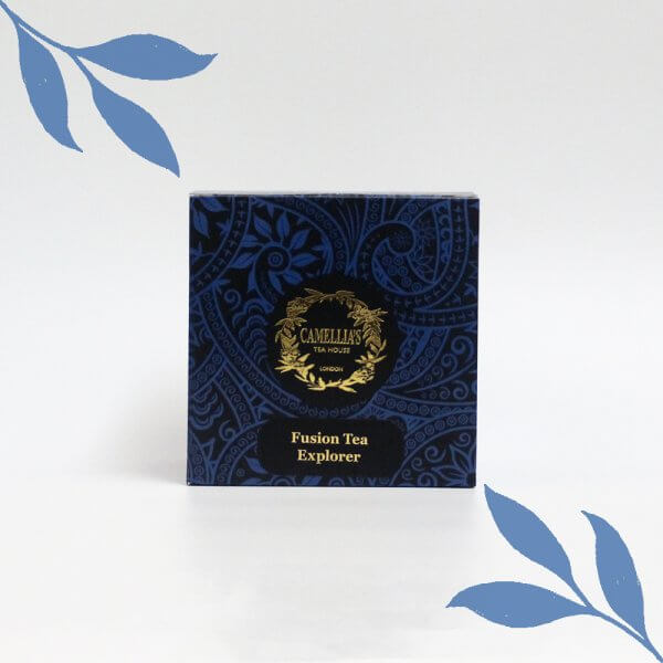 Loose leaf fusion tea box with blue pattern