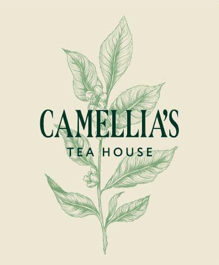 Camellia's Sinensis leaf illustration and Camellia's Tea House Logo